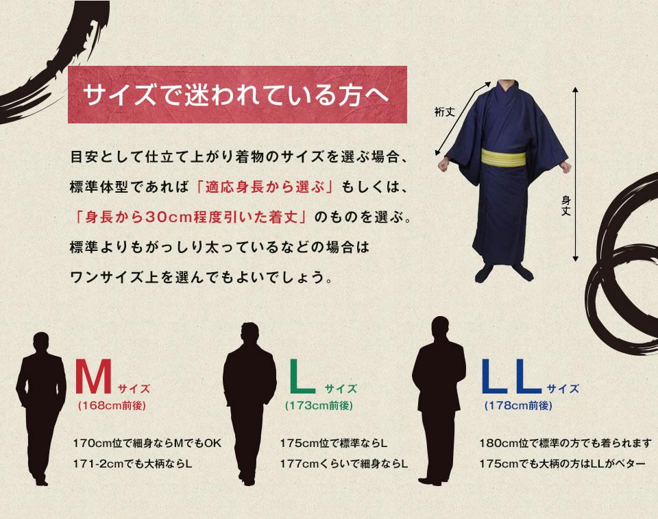 サイズで迷われている方へ・身長から30cm程度引いた着丈のものを選ぶ