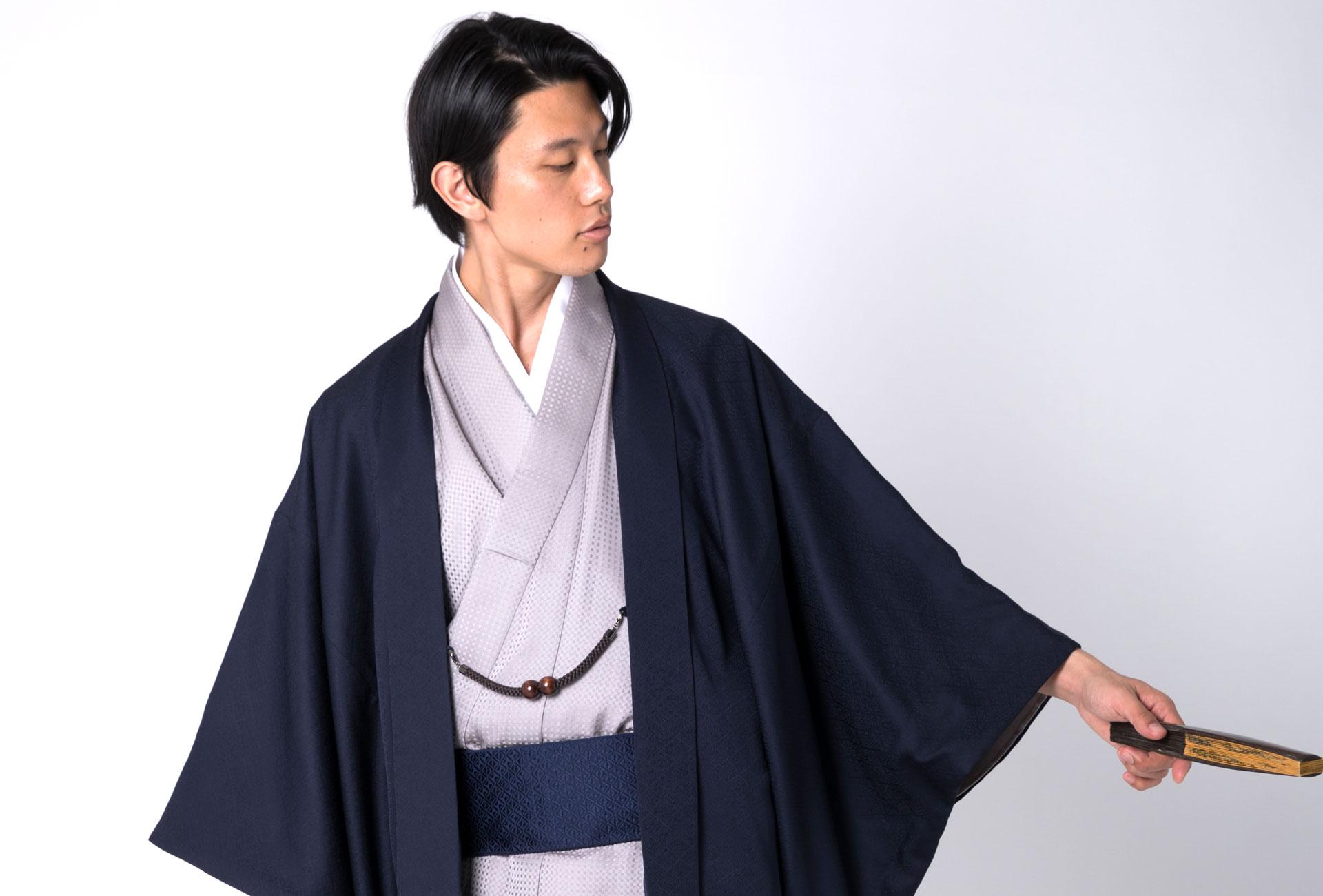 誂え染めから仕立てた着物と羽織