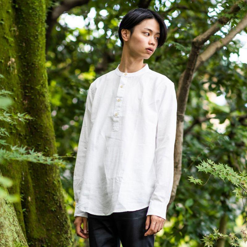 スタンドカラーシャツ 白