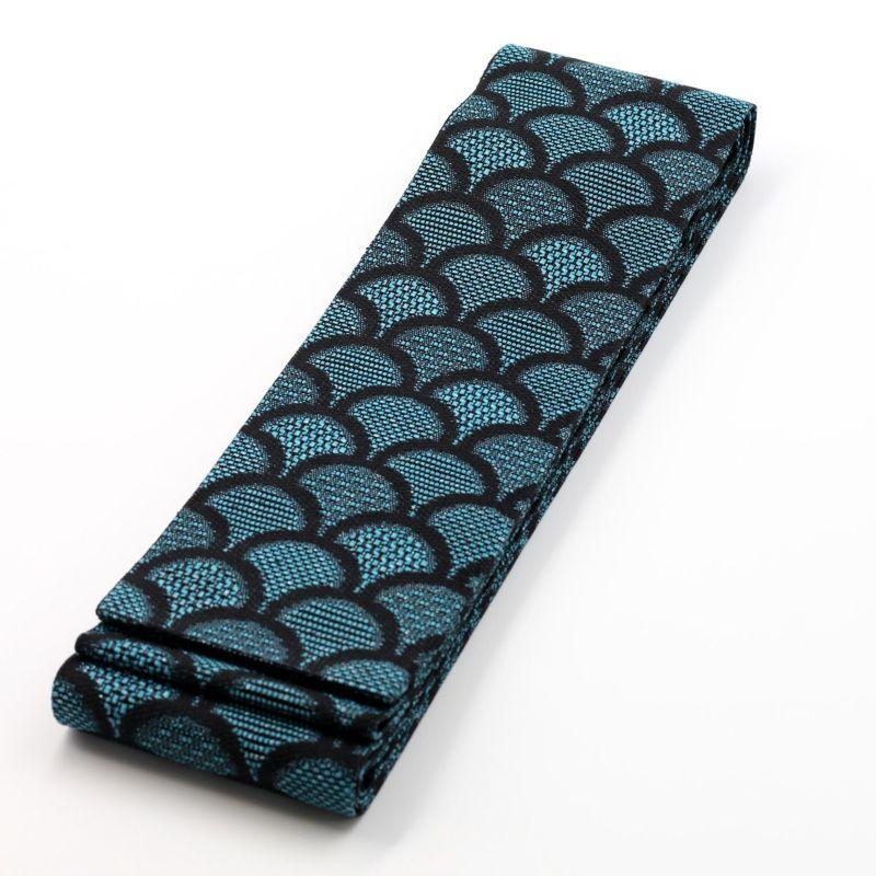 角帯 夏帯 正絹 紋八寸なごや帯 博多織物 大倉織物 青